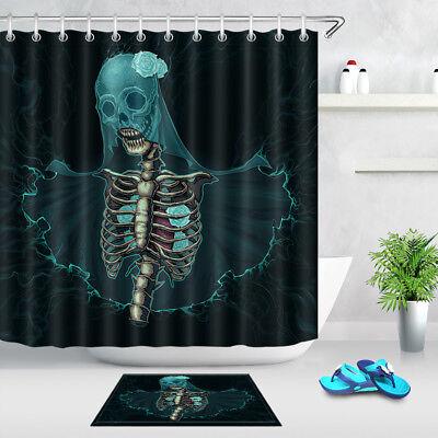 Halloween Skull bride Design Waterproof Shower Curtain Sets For Bathroom Decor