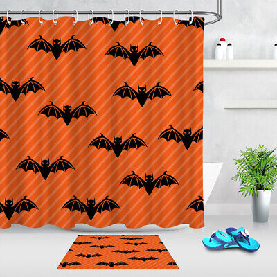 Halloween Orange Background Black Bats Shower Curtain Set Bath Waterproof Fabric](Orange Halloween Background)