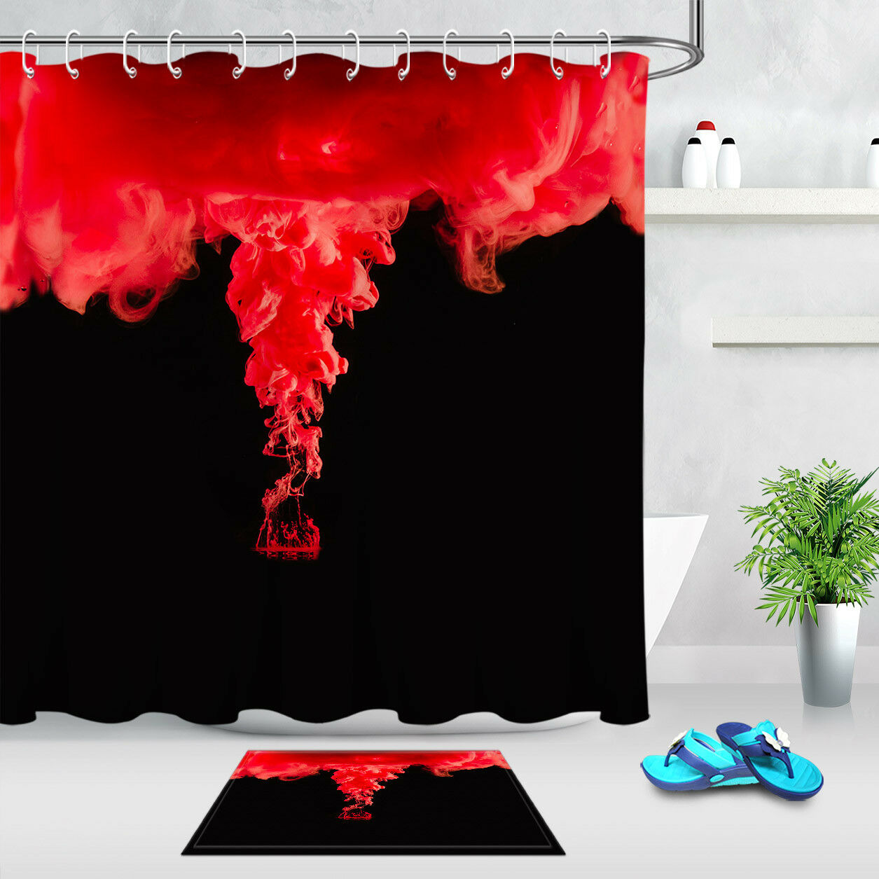 Abstract Red And Black Shower Curtain Liner Waterproof Fabric