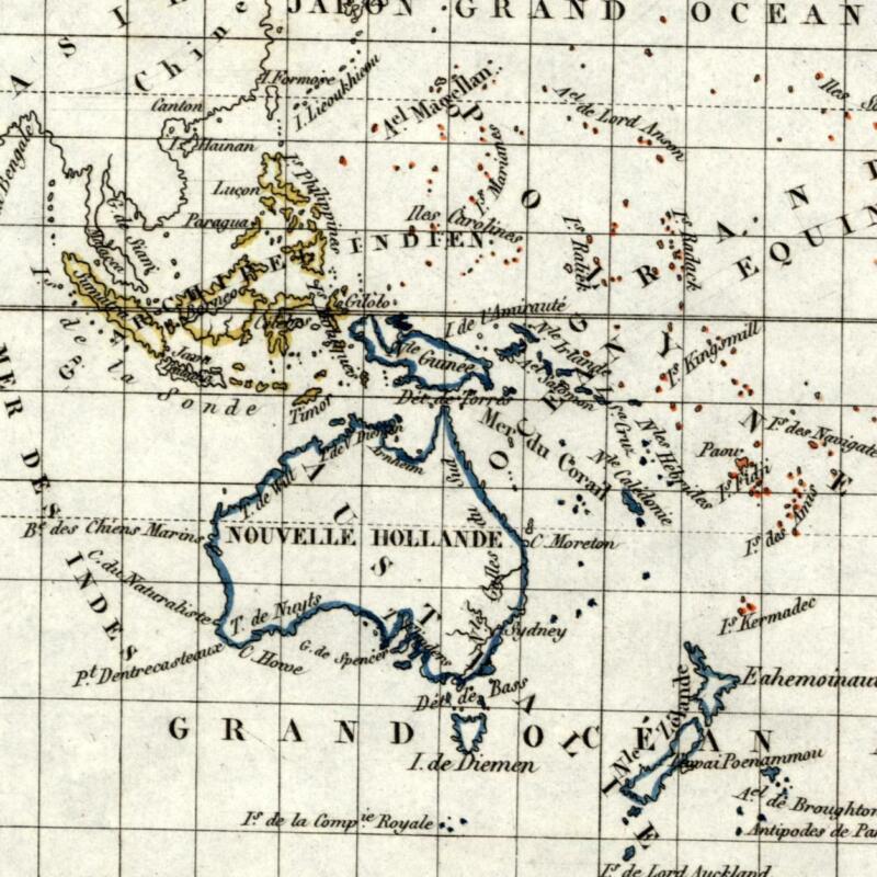 Australia Oceania Pacific old map 1834 Tardieu scarce Perrot miniature
