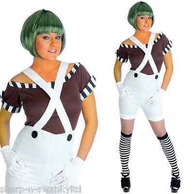 Damen Sexy Oompa Loompa + Perücke Büchertag Kostüm Kleid Outfit 8-26 Übergröße ()