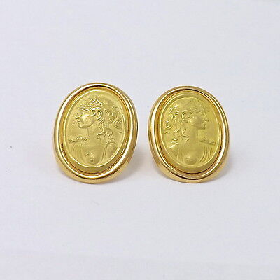 NEW 18K Gold 750 Italy Exposed Breast Greek Roman Goddess Stud Earrings  3.8gr