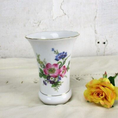Gold Small Rim (Small Kaiser West Germany Vase Gold Rim Marked Hand Painted Flowers)