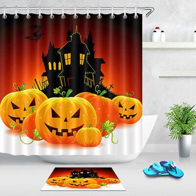 Halloween Autumn Pumpkin Castle Shower Curtain Set Bathroom Waterproof Fabric](Halloween Shower Curtain Set)