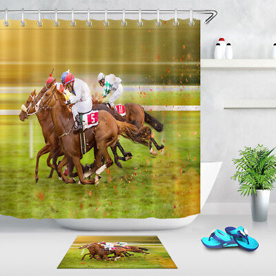 Horse Race Fabric Shower Curtain Set Polyester Curtains Bathroom Accessories - Race Horse Accessories