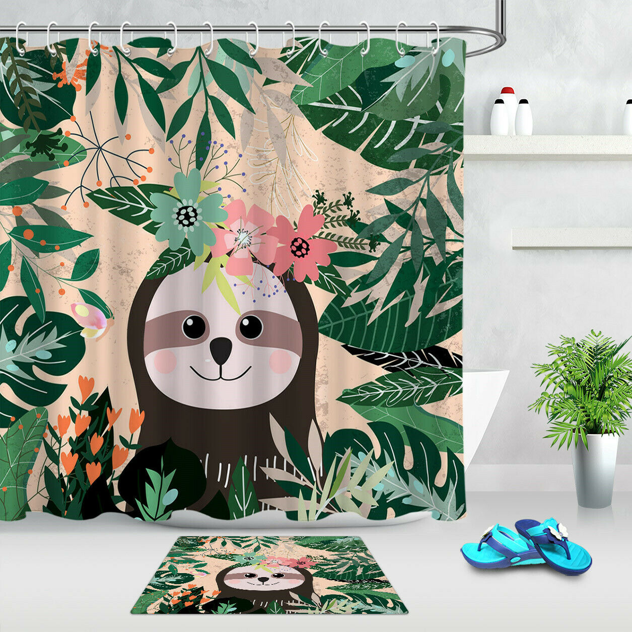 Details About Tropical Green Leave And Sloth Bear Fabric Shower Curtain Set Bathroom W Hooks