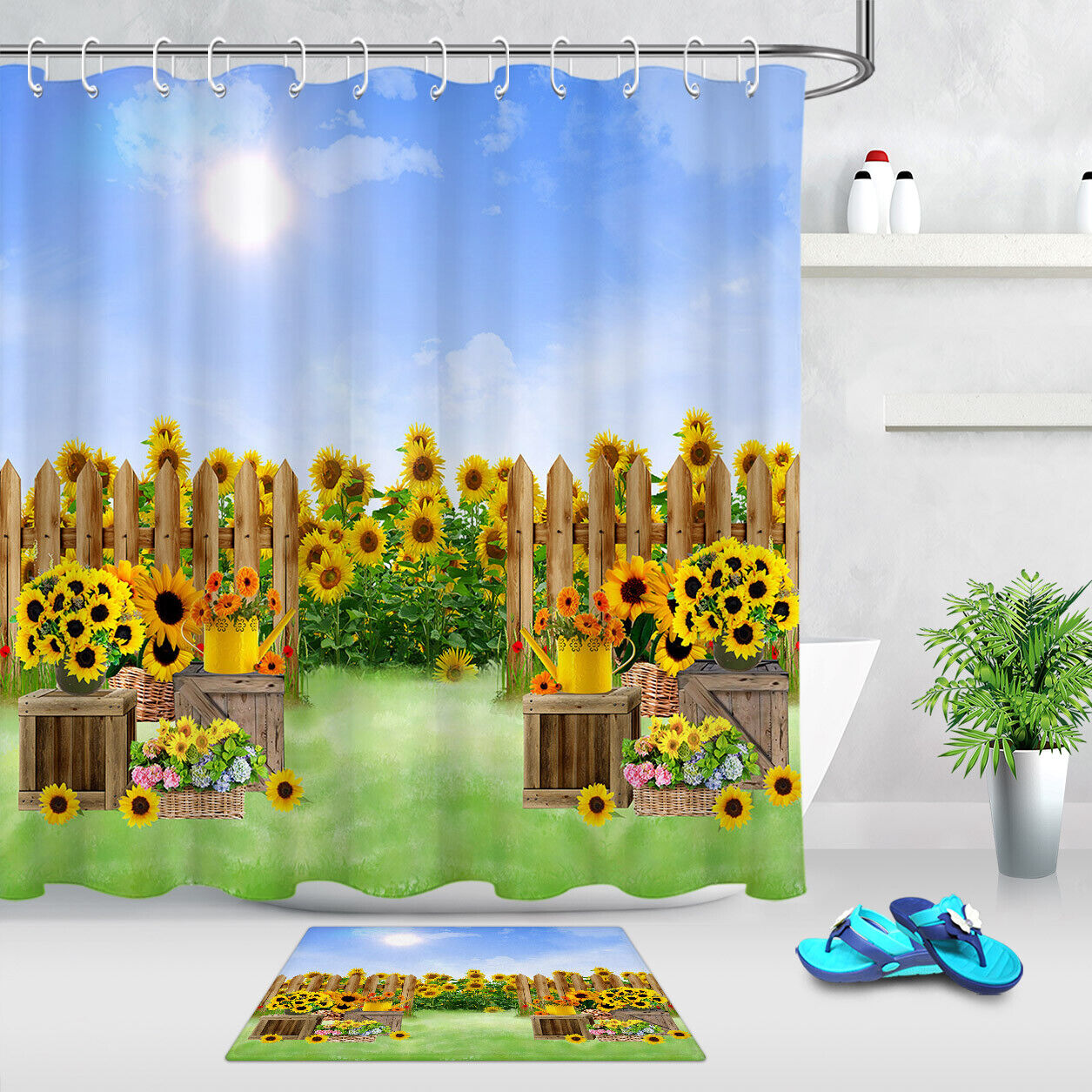 Details About Natural Golden Sunflower Field Shower Curtain Set Bathroom Fabric Bath Curtains