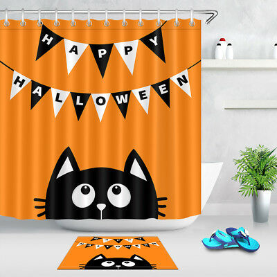 Happy Halloween Bathroom Waterproof Fabric Cartoon Black Cat Shower Curtain Set