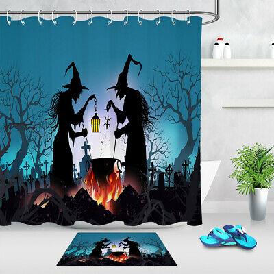 Happy Halloween Background Old Witch Dead Trees Fabric Shower Curtain Set 72x72