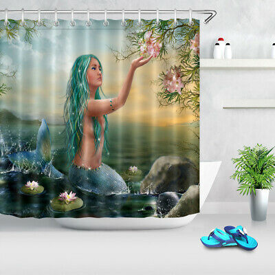 Gemstone Curtain (US STOCK  Water Lily Stone Mermaid Beauty Girl Fabric Shower Curtain Set 72x72