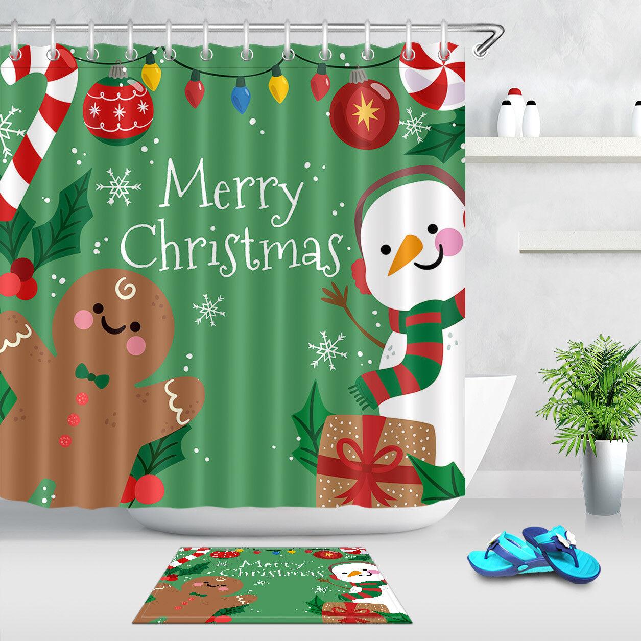 Waterproof Fabric /& 12 Hooks Shower Curtain Bath Mat Christmas Snowman Xmas Tree