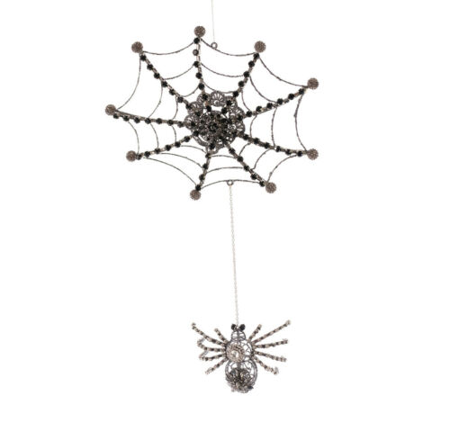 KINGDOOM SPIDER On Web Ornament Halloween Decor 20-920637 NEW Katherine