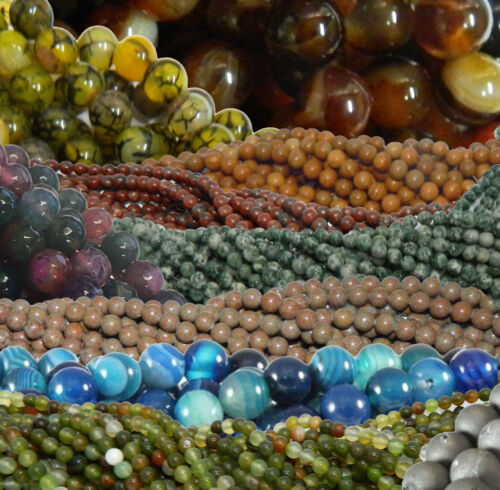 Genuine Agate Gemstone Beads 4mm 6mm 8mm 10mm 12mm Round 15 Inch Loose Strand