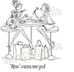 Stamping Bella Unmounted Rubber Stamp-Uptown Sushi Girls 666307131337