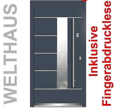 Haustür + Fingerabdruckleser WH75 Aluminium mit Kunststoff  Tür LA40 Frankfurt ()