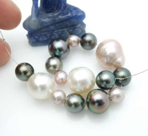 "SOUTH SEA JAPAN KASUMI TAHITIAN & FW CULTURED PEARLS 15pc SET 5"" 14.13grams"