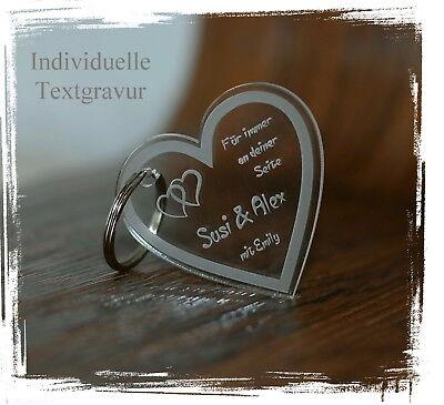 1 Schlüsselanhänger Acryl - klar - inkl. Gravur - Herz inkl. Wunschtextgravur