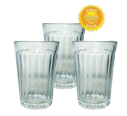 3 pcs Faceted Glass Granenny Granchak Stakan Soviet USSR Tea Vodka 250 ml New