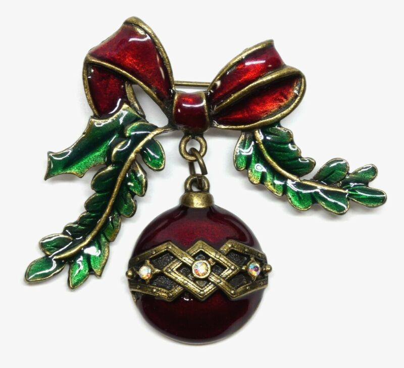 Vintage Christmas Tree Dangle Ornament Pin Brooch Red Green Enamel AB Rhinestone