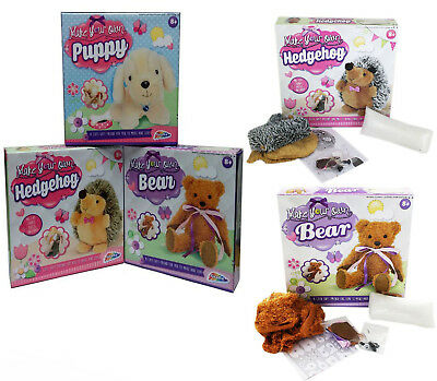 Make Your Own Plush Teddy Bear Puppy Dog Or Hedgehog Complete Soft Toy Craft - Make Your Own Dog
