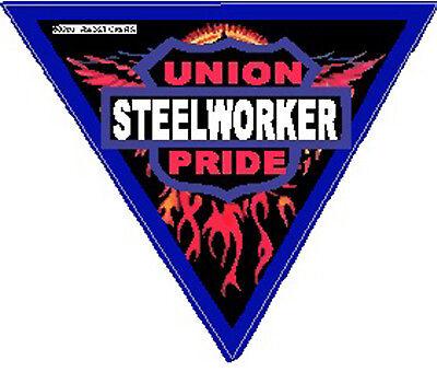 Steelworker Union Pride Triangle Hard Hat Sticker Csw-14