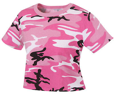 Pink Camouflage T-shirt (Womens Pink Camo Crop Top Shirt T-shirt Pink Camouflage Rothco 1943 )