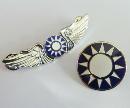 WWII Chinese Pilot Wings Badge insignia With KMT Brooch Pin