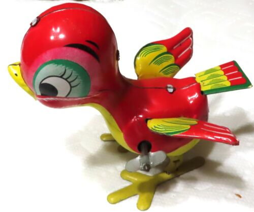 RED Bird Tin Litho Print Wind-Up Toy - Japan