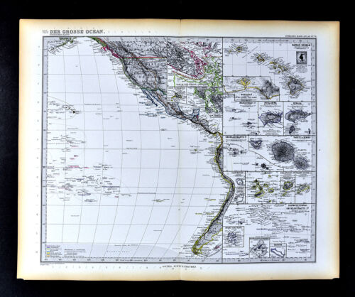 1892 Petermann Map Polynesia Oceania Hawaii Tahiti Galapagos Marquesa Islands