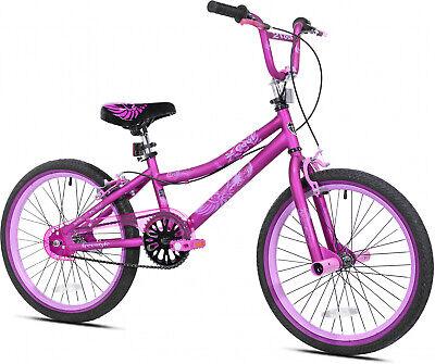Girls BMX Bike Purple 20 Inch Single Speed Steel Frame Kid Bicycle Fun Freestyle