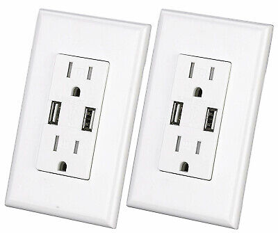 2-Port Rapid Charging Adapter USB Wall Outlet Socket AC Power Receptacle Station ()