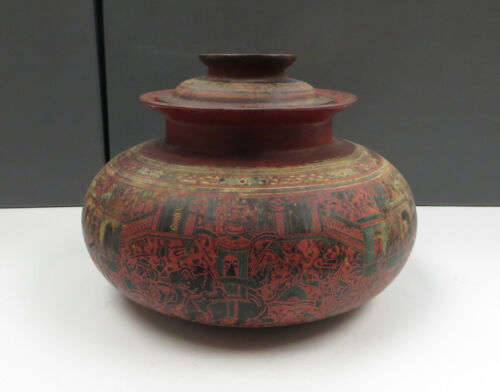 Antique Burmese (Myanmar) Red Lacquered Basket Weave Pot with Lid - Yun