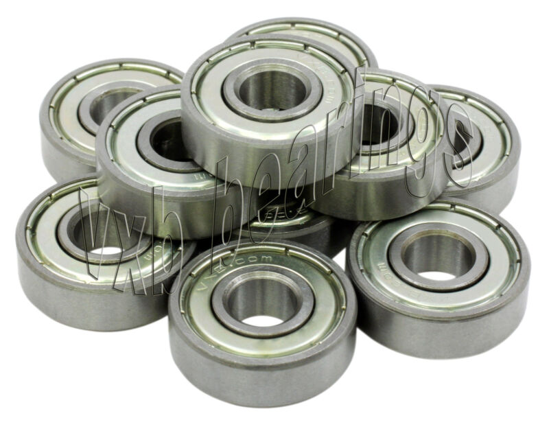 "10 R8 ZZ Ball Bearings 1/2"" half inch Bore/ID R8ZZ .500"