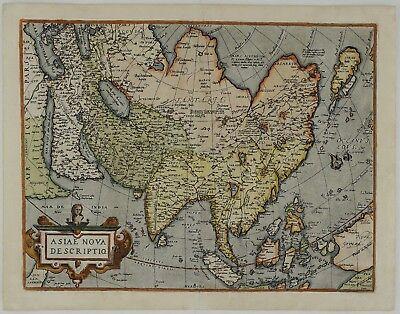 ASIA 1579 CHINA JAPAN INDIA INDONESIA PHILIPPINES KOREA ORIGINAL MAP ORTELIUS