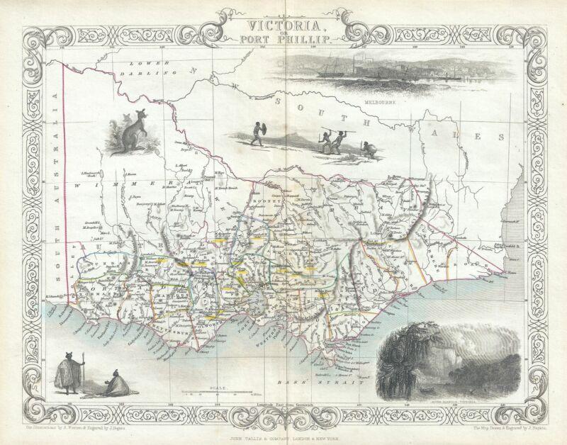 1851 Tallis and Rapkin Map of Victoria, Australia (with Gold Deposits)