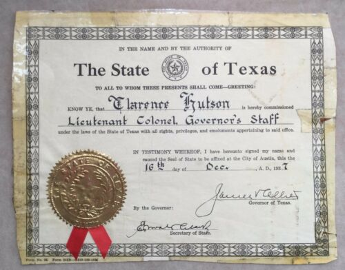 1937 TEXAS GOVERNOR JAMES ALLRED SIGNED STAFF COMISSION CLARENCE HUTSON