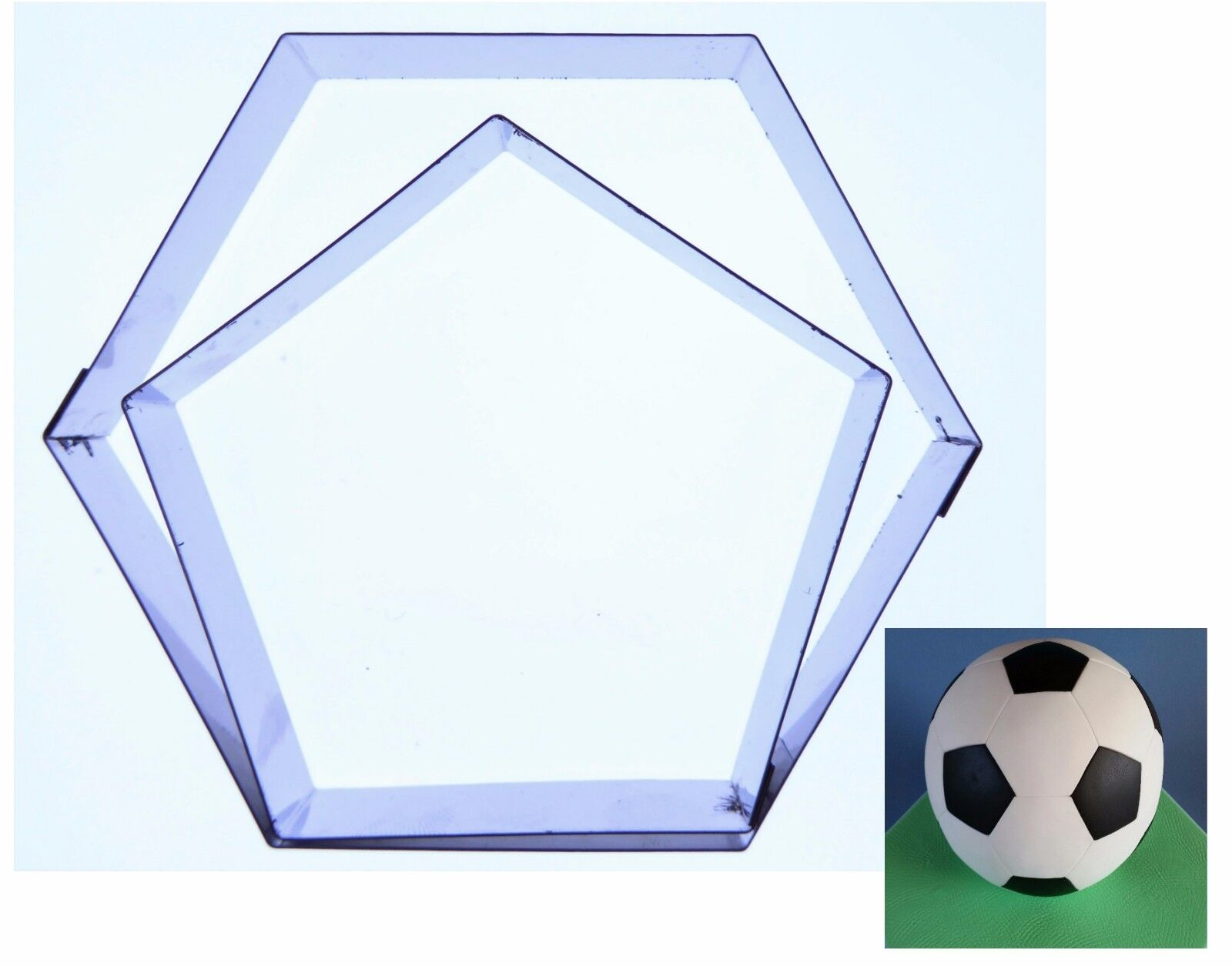 "Football Cake (Hexagon/Pentagon) Cutters to fit 6"",8 inch, 9,12,13,16,20cm ball"