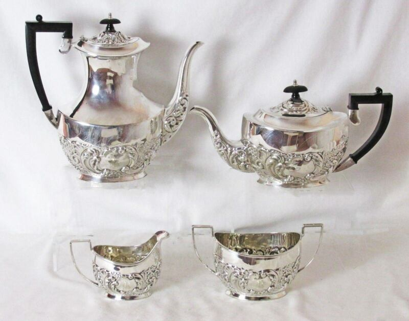 STUNNING SHEFFIELD SILVER PLATED REPOUSSE 4 PC TEA & COFFEE SET