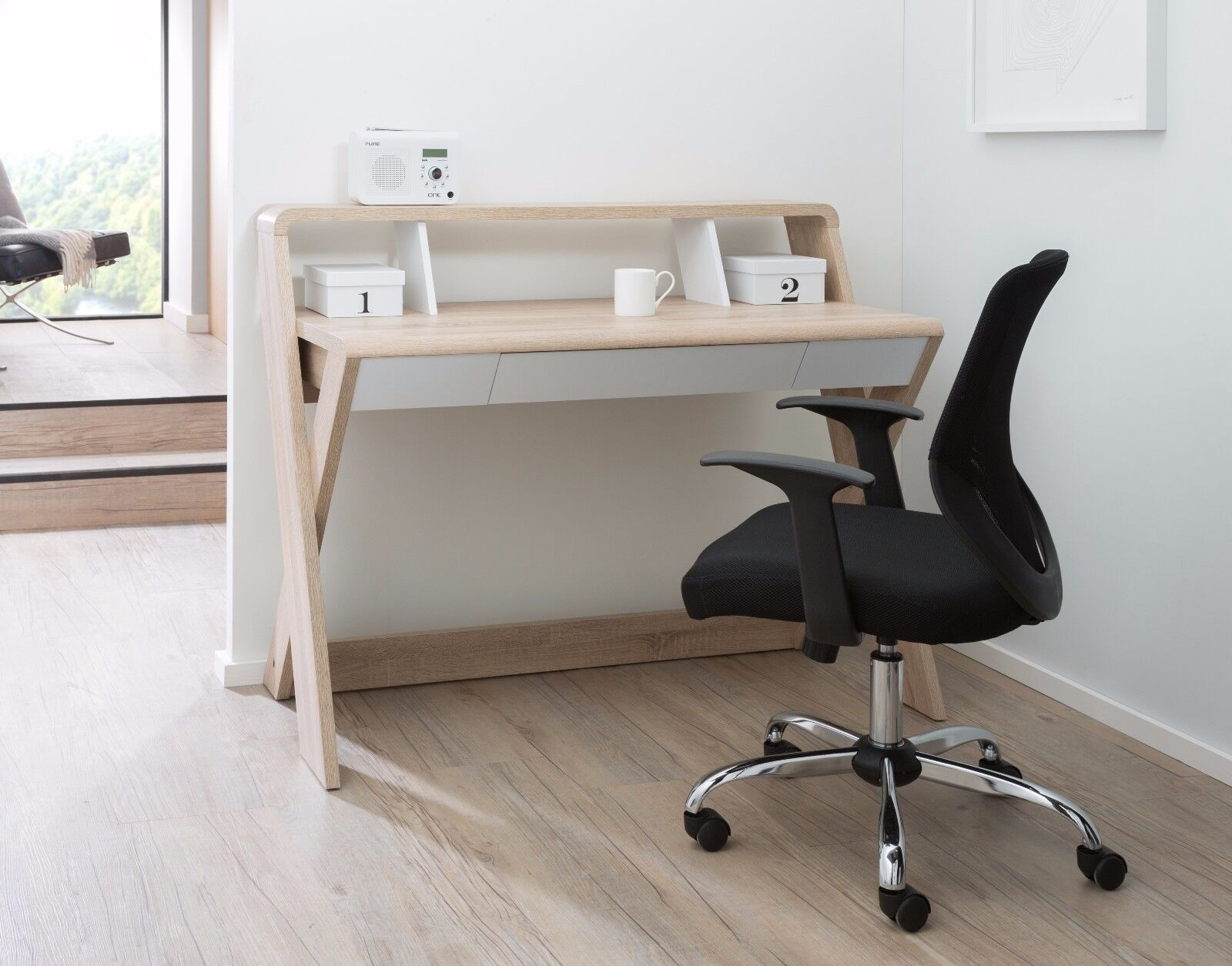 Oak Office Table Aspen Sonoma Computer Desk X Shape Workstation With Drawers