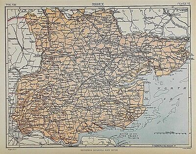 OLD ANTIQUE MAP ESSEX c1880's by W & A K JOHNSON PRINTED COLOUR