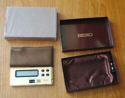 Vintage Seiko Digital Travel Alarm Clock Stop Watch Gold Plated Case Batteries