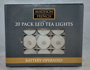 MADISON & FRENCH 20 PACK LED TEA LIGHTS - BATTERY OPERATED- (INCLUDED)