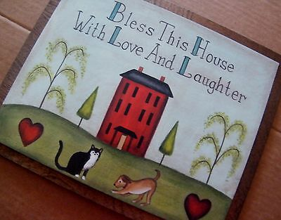 BLESS HOME LOVE LAUGHTER Inspirational red saltbox house Cat Dog art Wood Sign