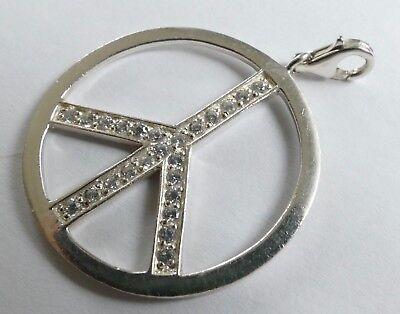 hen 925 Silber 24 Zirkonias Vintage 60er silver pendant (60er Peace-zeichen)