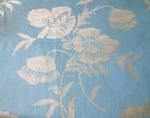 Antique Vtg. French Poppy Floral Cotton Linen Damask Ticking Fabric ~ Sky Blue