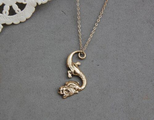 """Dragon Pendant Kremetz Gold Fill 1"""" x 1/2"""" 18"""" Chain Asian Motif Dainty Vintage"""