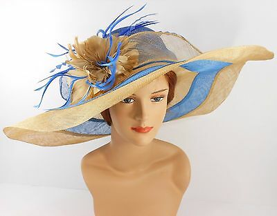 Church Kentucky Derby Wedding Party Sinamay Wide Brim Dress Hat 3033 Royal Blue