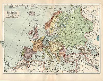 EUROPA  Staaten Deutsches Reich Frankreich Italien  Karte  Lithographie 1907