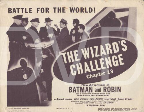 1949 Batman & Robin Title Lobby Card Chpt 13 Wizard