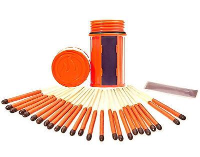 Stormproof Match Kit Orange Case  25 Matches 3 Strikers Windproof Waterproof